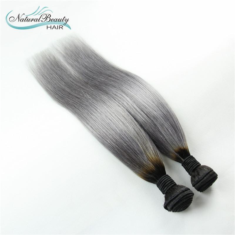 2015 Hot Dark Roots Grey Hair Weave Ombre 1B/Grey Brazilian Straight Virgin Hair 2 Pcs Bundles Silver Grey Human Hair Extension