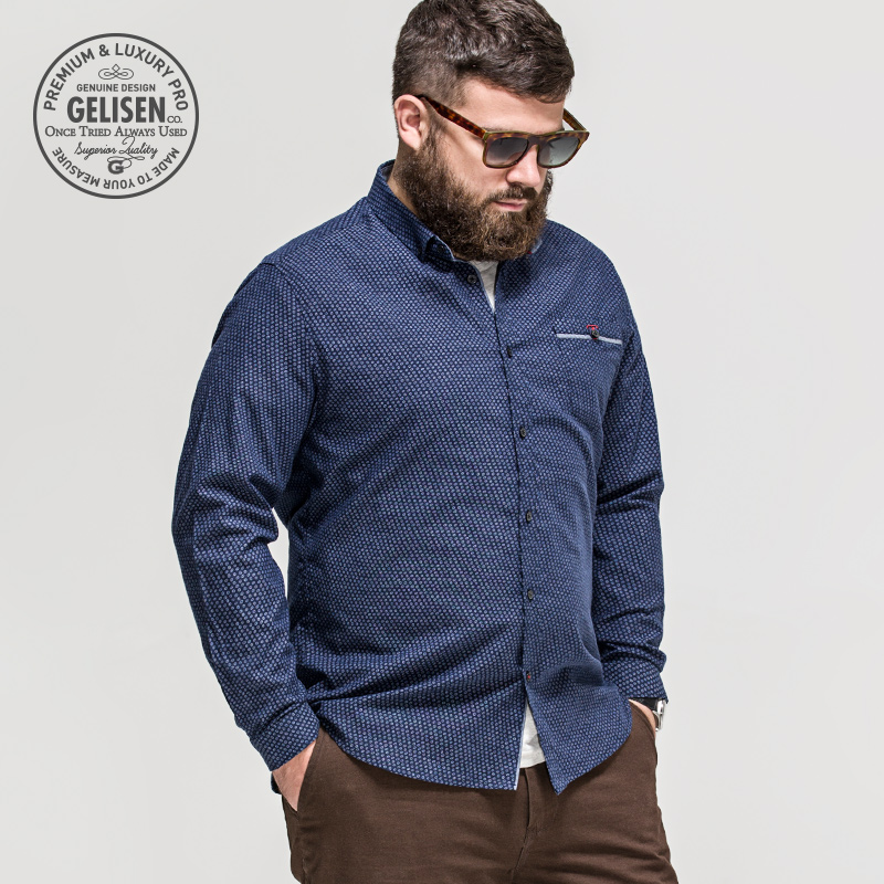 Gelisen menswear brand shirt business casual men increased for Best dress shirts for big guys