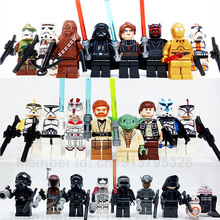 24pcs/set Star Wars Yoda Obi-Wan Darth Vader BB8 starwars 7 Building Blocks Brick compatible legoes kids Toy figure(China (Mainland))