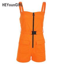 HEYounGIRL Casual sin espalda Mono corto Romper mujer Correa algodón mujeres overol verano hebillas cremallera Combishort Streetwear(China)