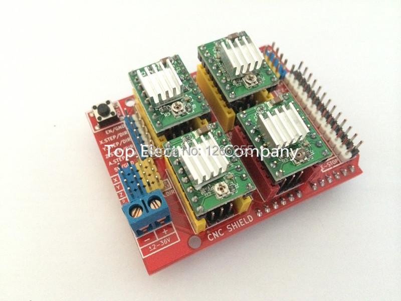 Free shipping! New cnc shield v3 engraving machine / 3D Printer / + 4pcs A4988 driver expansion board for Arduino(China (Mainland))
