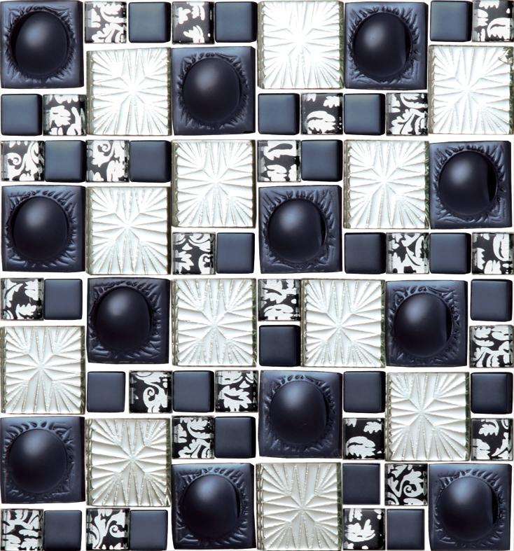 New style idea design dull polish black glass mosaic tiles daisy flower backsplash mosaics penny round hemisphere embossment<br><br>Aliexpress
