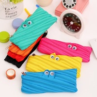 Creative stationery Cute monster zipper big capacity pencil case for kids stationery pouch bags office material school supplies