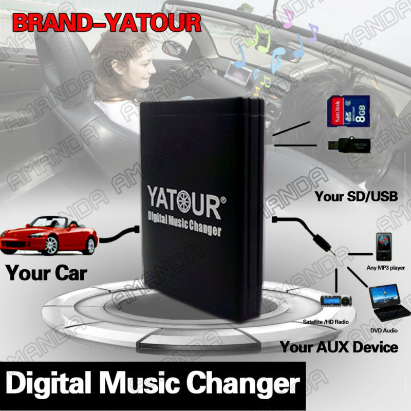 YATOUR CAR DIGITAL MUSIC CD CHANGER AUX MP3 SD USB ADAPTER FLAT 40PIN CONNECTOR FOR RANGE ROVER 2003 2004 W/O NAV RADIOS(China (Mainland))