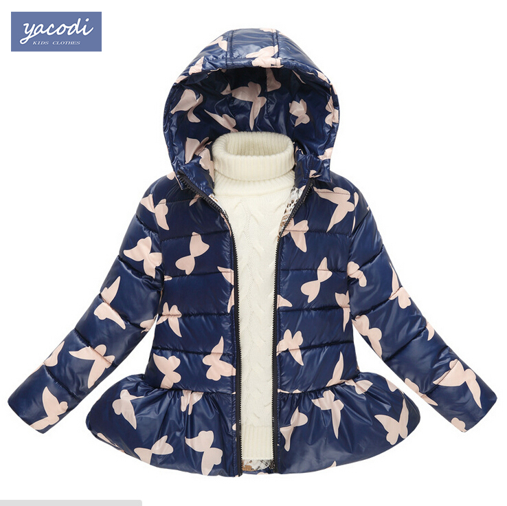 5-9Y Children's Down Jackets Winter Down Coats Girls Thick Warm Outerwear Baby girls winter coat 2015 Kids Outwear hooded jacket(China (Mainland))