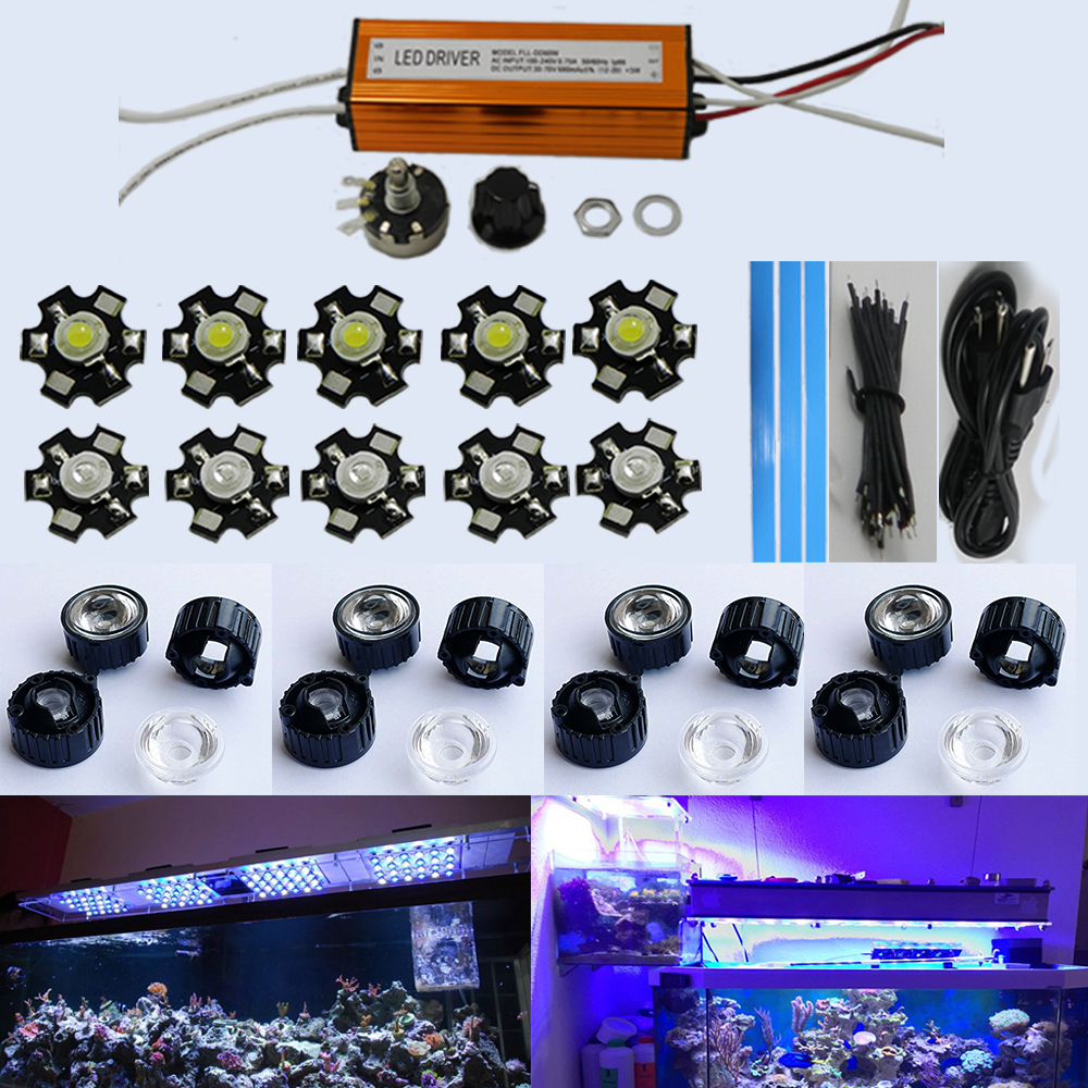 30W DIY Led Aquarium Light Kit for Aquarium Lighting Coral reef lighting 20000k White 3W Royal Blue(China (Mainland))