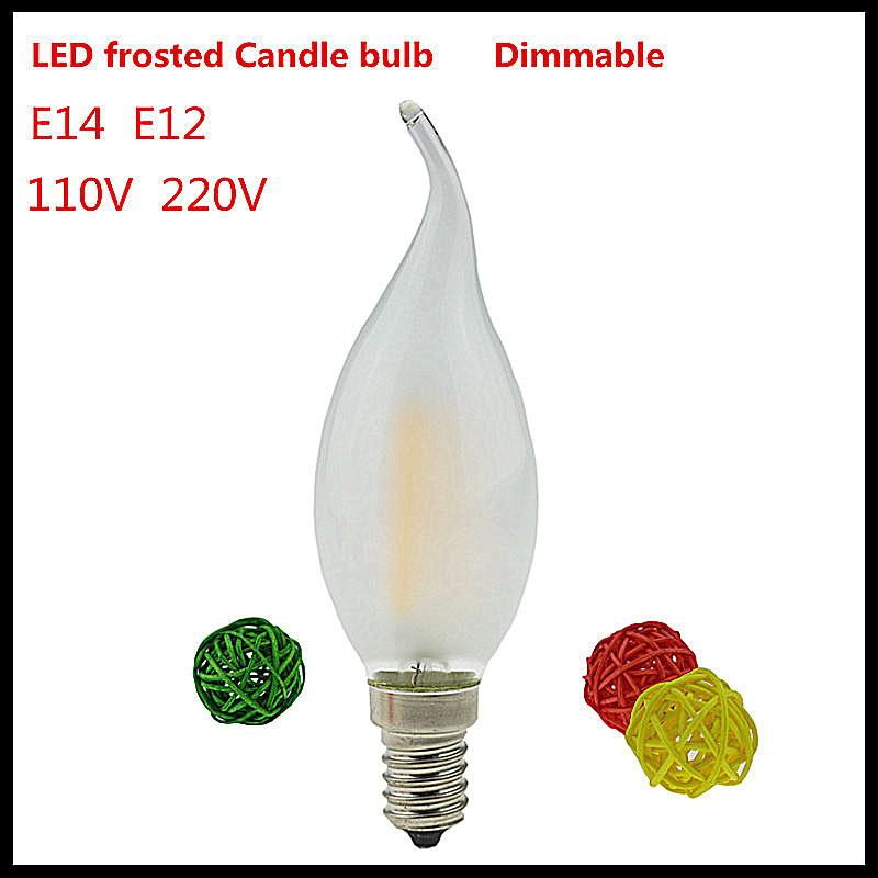 1X led candle bulb E14 E12 2w 4w 6w dimmable tip retro LED Filament light ampoule LED light Bulbs E14 candle lamps 110V 220VAC(China (Mainland))
