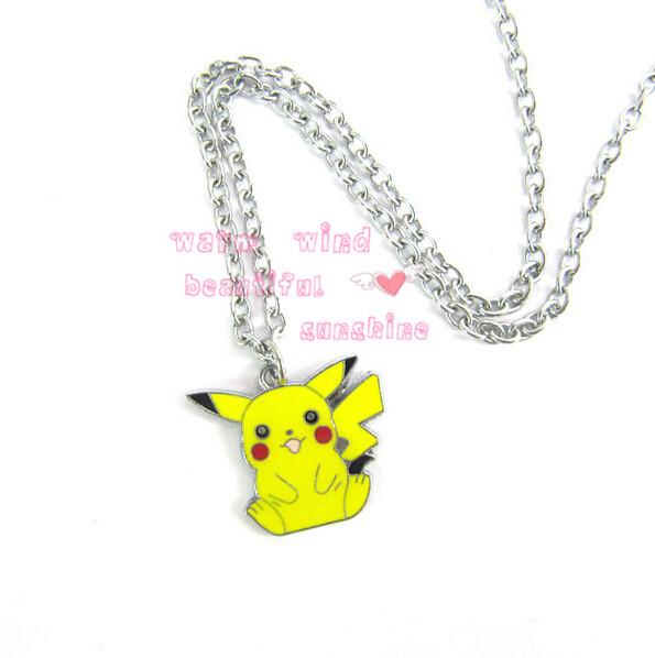 Hot Anime Cartoon Pokemon Pikachu Necklace Metal Figures Pendants Key Chains Cosplay Pendant Necklace Costume Props Collectible(China (Mainland))