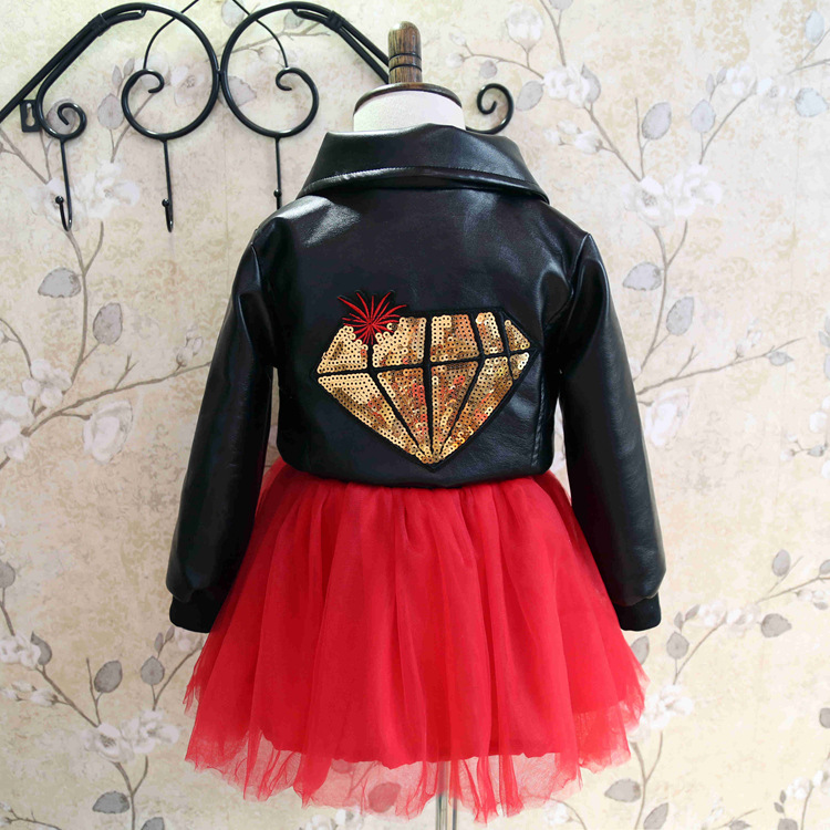 Hu sunshine wholesale New 2016 Spring Kids Girls sequins black PU leather dress with high quality<br><br>Aliexpress
