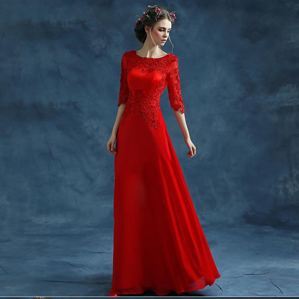new brand 2016 fashion women red lace prom dress scoop half sleeve floor length long prom dresses plus size,ty10253(China (Mainland))