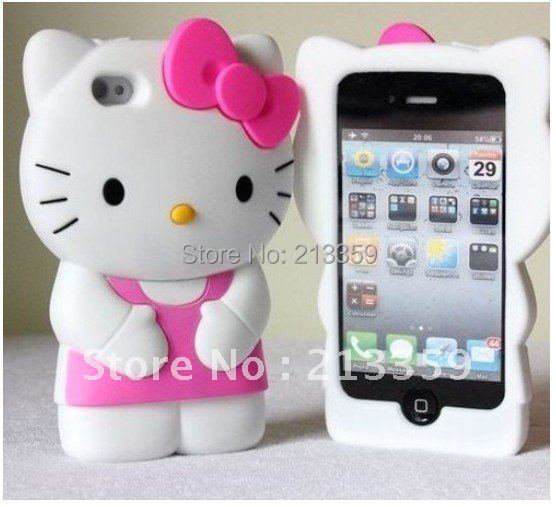 Free shipping for NEW Cute Red Soft Silicone Hello Kitty Case Cover Skin For iPhone4 4G 4S hot! also for Iphone 5