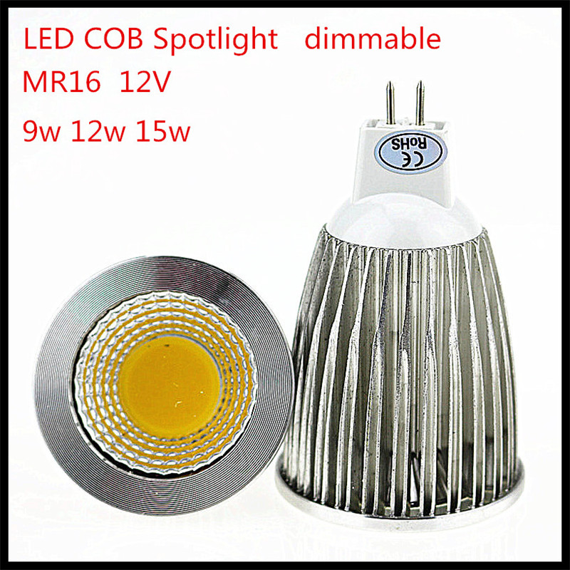 1pcs/lot CREE MR16 12V Dimmable 9W 12W 15W LED COB spotlight lamp bulb warm cool white CE ROHS(China (Mainland))