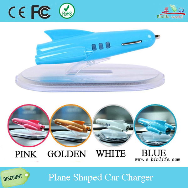 Free shipping wholesale 2015 the latest design cheap car charger plane shape 5V 2100mAh car charger(China (Mainland))