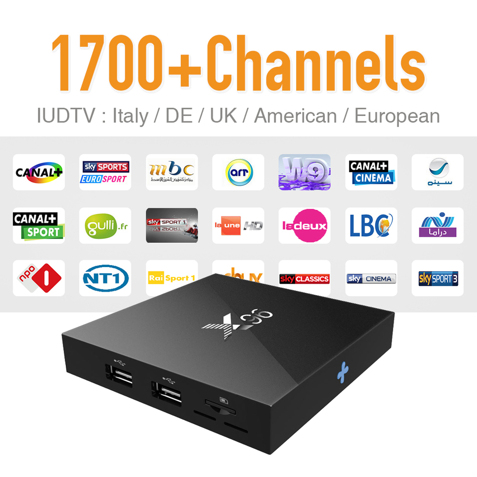 IPTV Europe Tv Box Android 6.0 & 1700 Arabic Sky Canal Travel IPTV Hot Channels Strong Wifi Signal S905X CPU 4K Tv Receiver