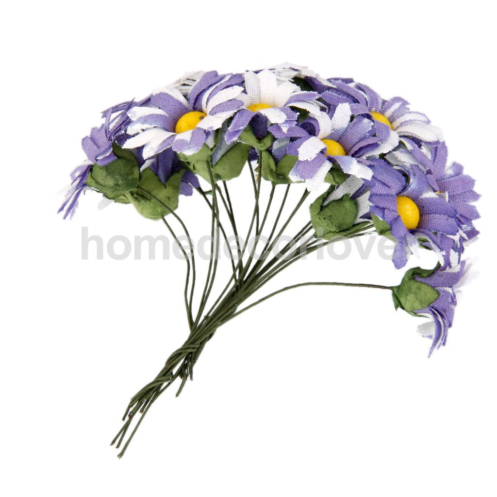 100 x Artificial Fake Flower Heads Cloth Daisy Wedding Party Craft Purple(China (Mainland))