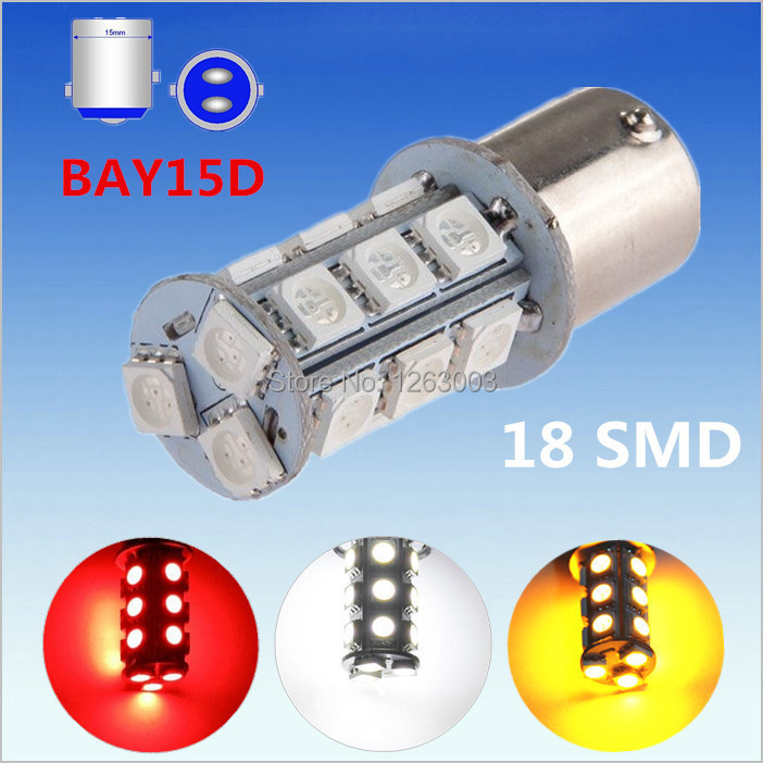 1157 BAY15D 18 SMD 5050 Amber Yellow,White Red LED Car Bulbs Lamp Auto p21/5w rear brake Lights Light Source parking - Guang Zhou Ming Zhi Technology co., LTD store
