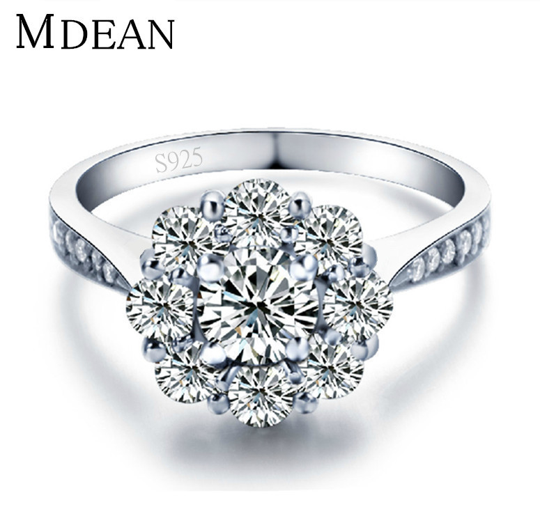 S925 white gold plated jewelry wedding rings zircon inlay fashion vintage rings for women bijoux 2015