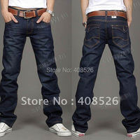2014 free shipping Korea Men's Jeans Slim Fit Classic denim Jeans Trousers Straight Leg Blue Size 30~34 Button New 12