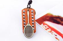 5.5 * 4 cm Fashion retro jewelry personality badminton racket pendant brown leather alloy necklace(China (Mainland))