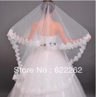 Бесплатная доставка простой одиночной кружева 2013 новых невесты фата