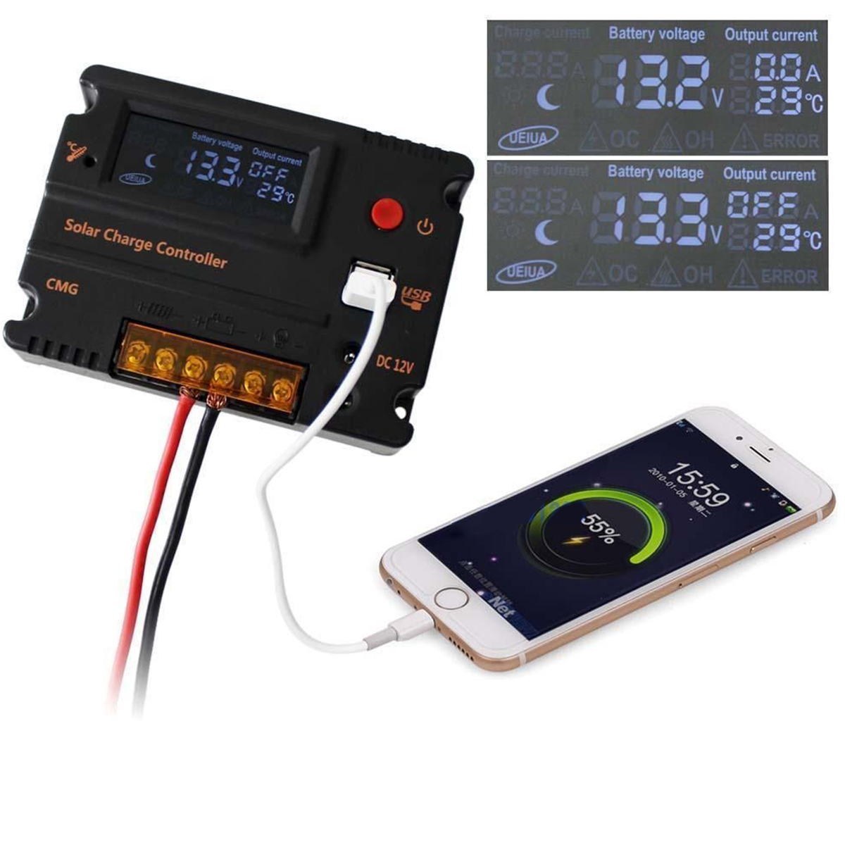 LCD Solar Panel Battery Regulator Charge Controller 12V/24V PWM Dual USB 5V DC 12V output for solar home system LD476(China (Mainland))