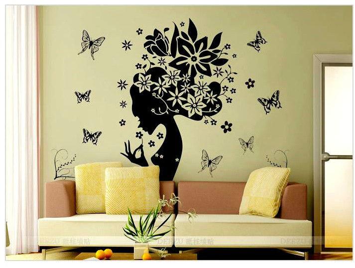 Diy Vinyl Wall Art Contact Paper : Butterfly flower home decor wall sticker princess love
