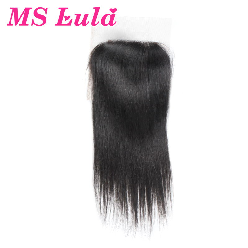 Free Shipping Straight virgin human hair brazilian lace closure 4x4 swiss lace size ms lula hair