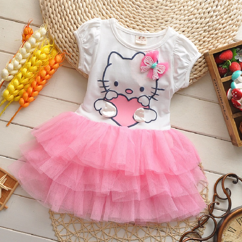 2016 Summer Baby Girls Dress Hello Kitty Cartoon KT Wings Tutu Dresses Children Princess Vestidos Roupas Infantis Menina Clothes(China (Mainland))
