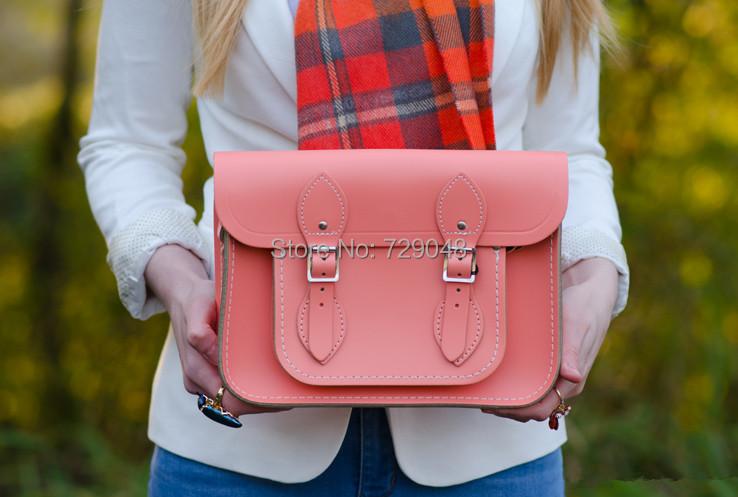 Light Orange 11'' Leather Satchels Ladies Leather Bags Honeysuckle Orange School Bags Cheap Designer Handbags Purses Clutch Bags(China (Mainland))