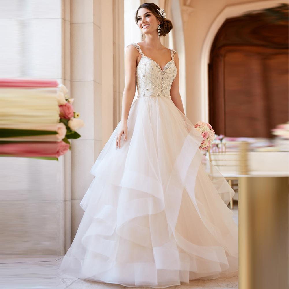 New Arrival Ball Gown Wedding Dress Crystal Top Vestido De Novia Pearls Louisvuigon Back Bridal Gowns Casamento 2016(China (Mainland))