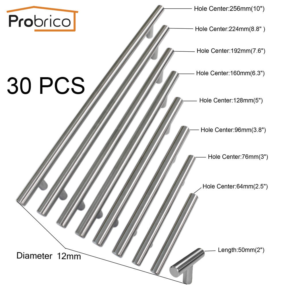Probrico 30 PCS Diameter 12mm CC 50mm 256mm Stainless Steel Kitchen Cabinet T Bar Knob Furniture