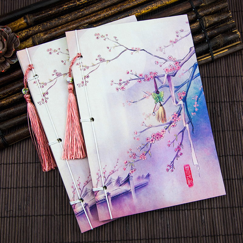 Purple flower antique line Chinese wind Notepad blank book notebook products this retro ceremony(China (Mainland))