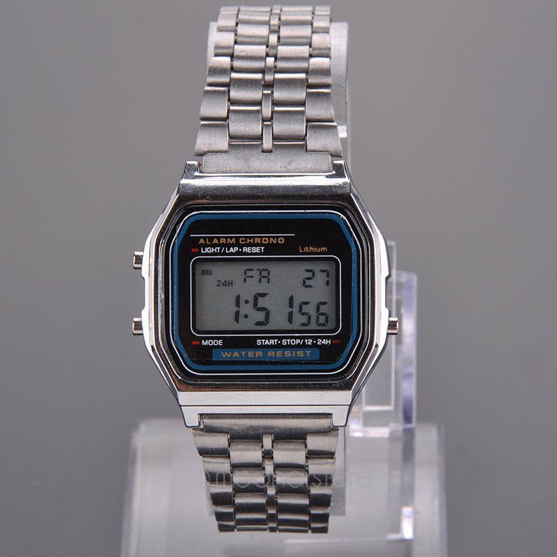 Women Watch Gold Metal 80 s Vintage Digital Watch Display Date Alrm Stopwatch Retro Watch Unisex
