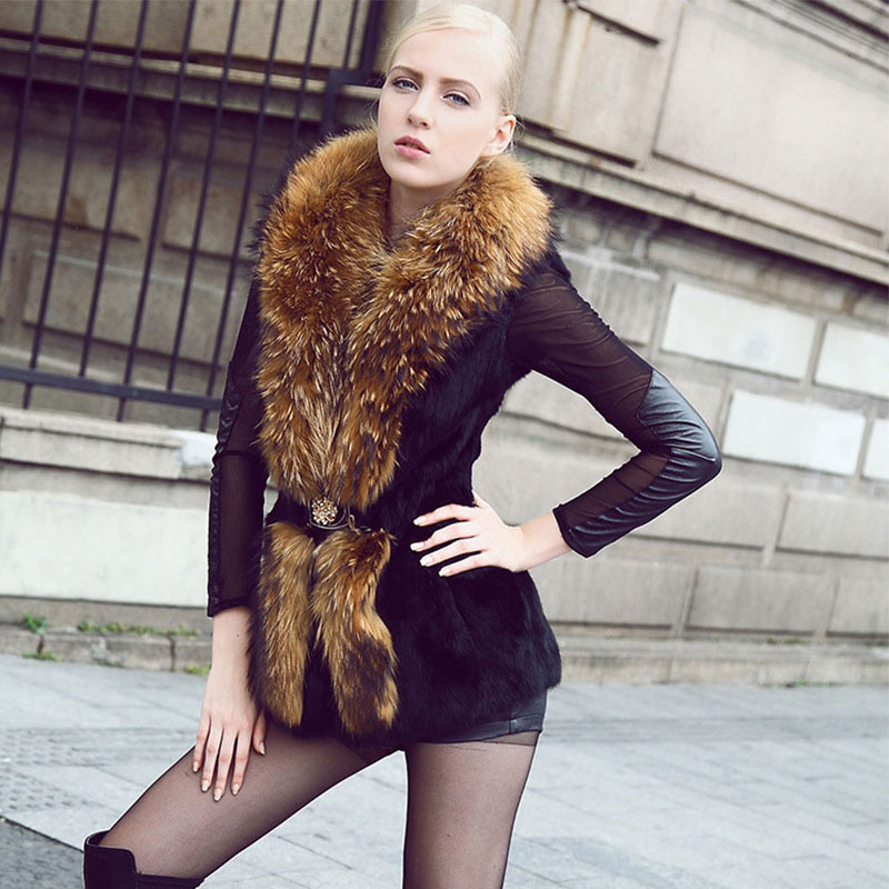 Real rabbit fur coat women with raccoon fur collar Autumn&winter noble winter luxury women rabbit fur coat free shopping QS-69(China (Mainland))