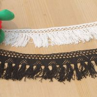 15yds/lot White/Black Crochet Cotton Lace Trim Tassel ribbon, Fringe Trimming For Sewing Garment Free Shipping