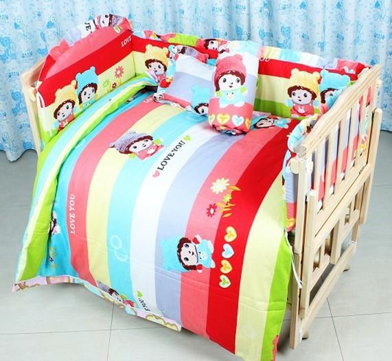 Promotion! 7pcs baby bedding cot bumper 100% cotton customize bedding kit bed around berco  (bumper+duvet+matress+pillow)<br><br>Aliexpress