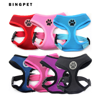Free Shipping Soft Air Mesh Pet Dog Puppy Harness with Paw Rubber, Small Medium Large Size Dog Harness, 5 colors available
