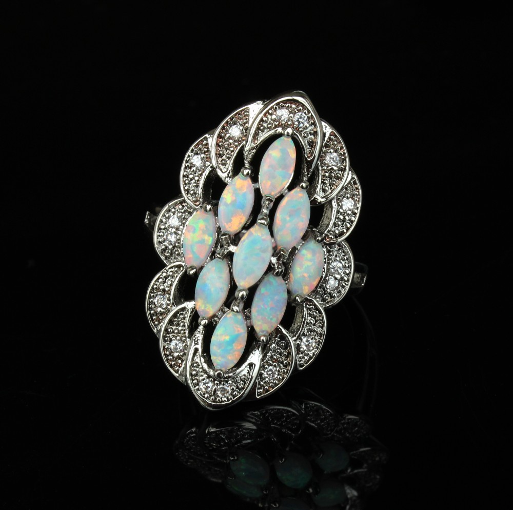 graceful white fire opal rings for women cheap opal ring. Black Bedroom Furniture Sets. Home Design Ideas