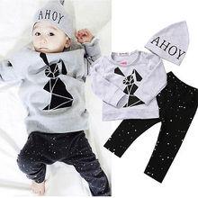 2016 New Toddler Clothing Set Baby Boy Girl Rabbit Long Sleeve T-shirt+Pants+Hat 3pcs Outfits Set