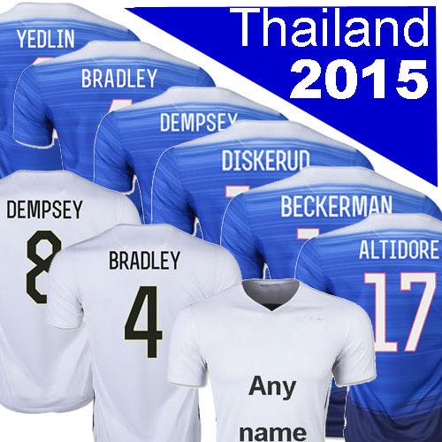 Thailand 3A white blue 2015 DEMPSEY jersey 2016 DISKERUD soccer jesrey 15 16 GREEN YEDLIN BRADLEY ALTIDORE football soccer shirt(China (Mainland))
