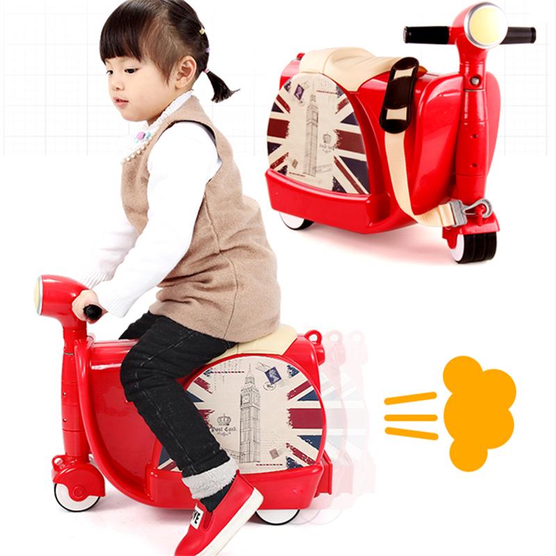 2017 Rushed Top Fashion Bicicleta Infantil Children's Suitcase Sit Ride On Toy Korah Baby Luggage Box Children Motorcycle Cart(China (Mainland))