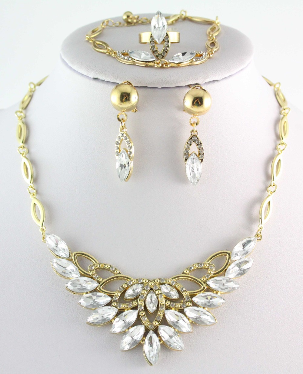 Free Shipping Top Quality New Arrival Queen Gorgeous Gold Plated Clear Crystal Jewelry Set Women Costume Bridal Trendy Jewelry(China (Mainland))