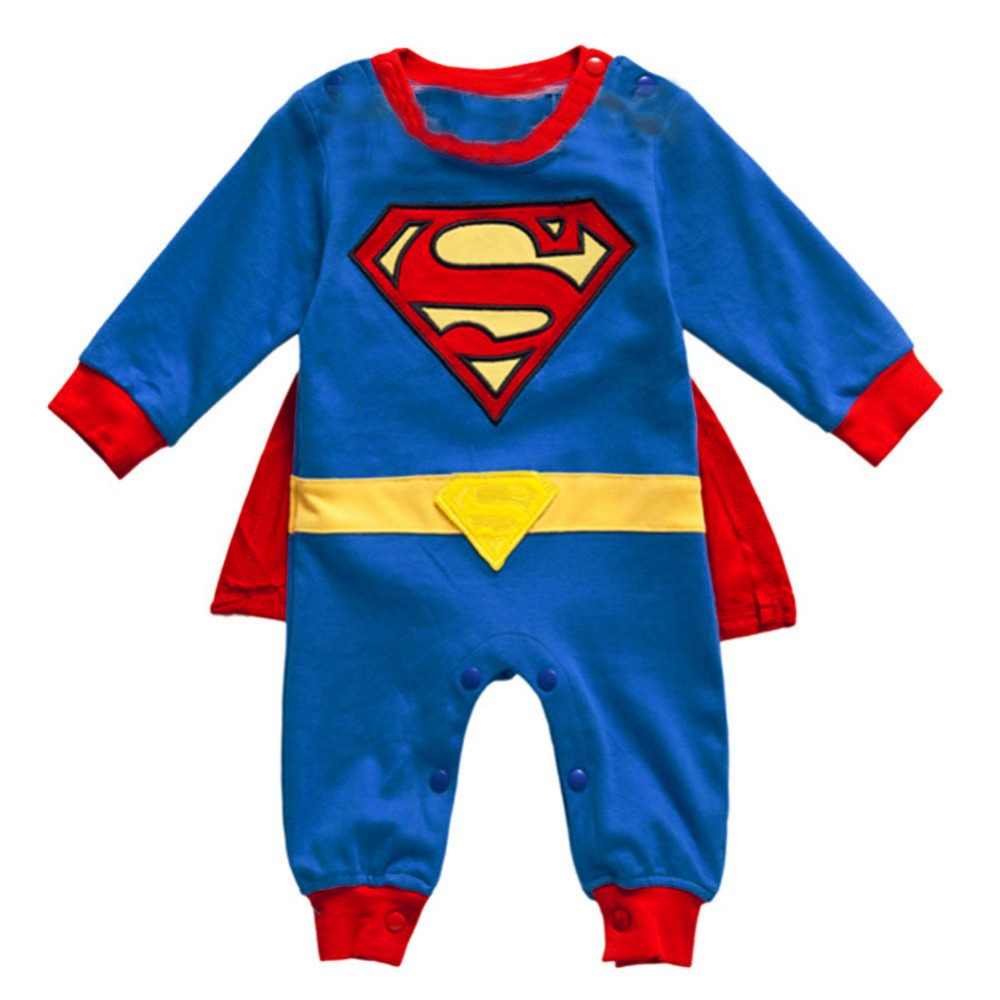 Superman Long Sleeve Baby Boy Dress Romper Halloween New Jumpersuit Costume Freeshipping(China (Mainland))