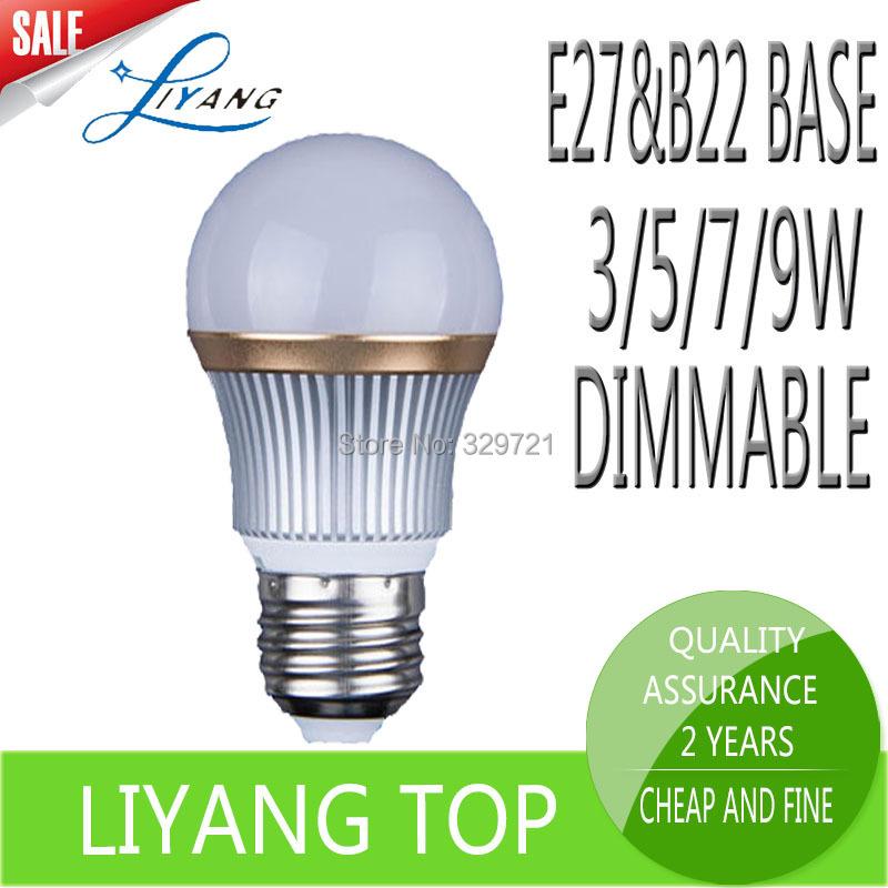 Led E27 B22 Led Light Bulb 3W 5W 7W 9W LED Lamp Dimmable AC100-245V Non-dimmable 220V Nature Warm White Bulb Led Spotlight Lamps(China (Mainland))