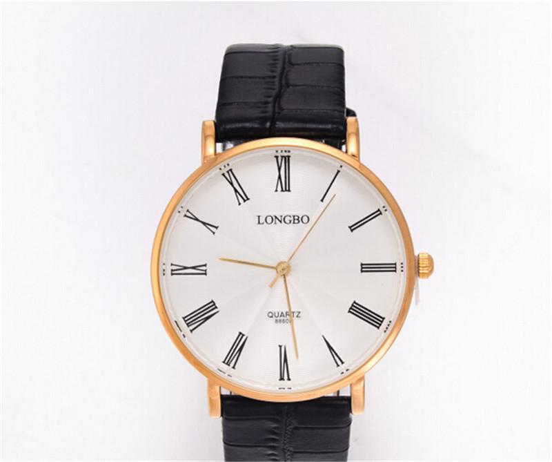LONGBO brand new luxury leather quartz watch rose gold case roman business men watch(China (Mainland))