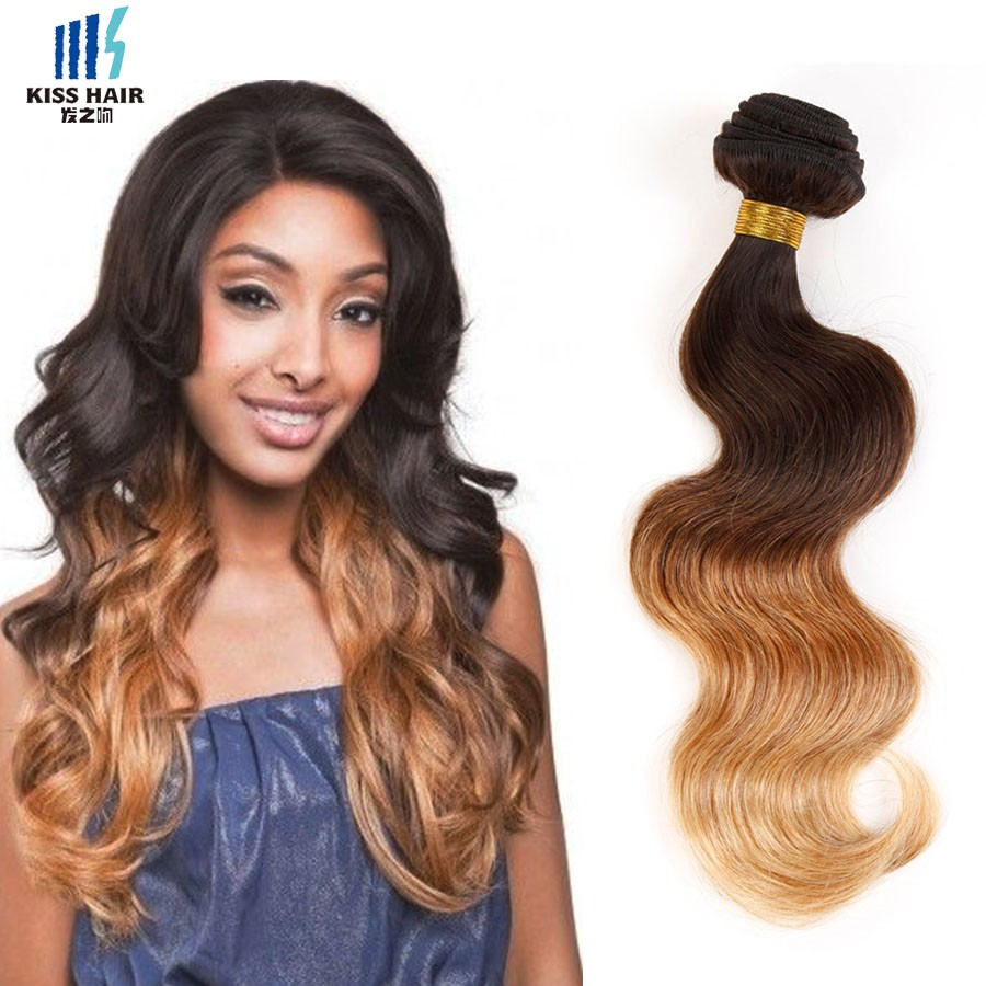 1 Bundle Malaysian Body Wave 12-26inch Ombre Human Hair Extensions T4/30/27 Ombre Weave Kisshair Fashion 3 tone Maylasian Hair