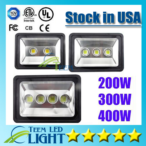 Stock in USA CE ROHS UL Outdoor Led Flood Light 200W 300W 400W Waterproof IP65 85-265V Led Floodlights lighting Led Garden Lamp(China (Mainland))