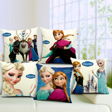 Cute Cartoon Anna Elsa Olaf Cushion Cover Throw Pillow Cover