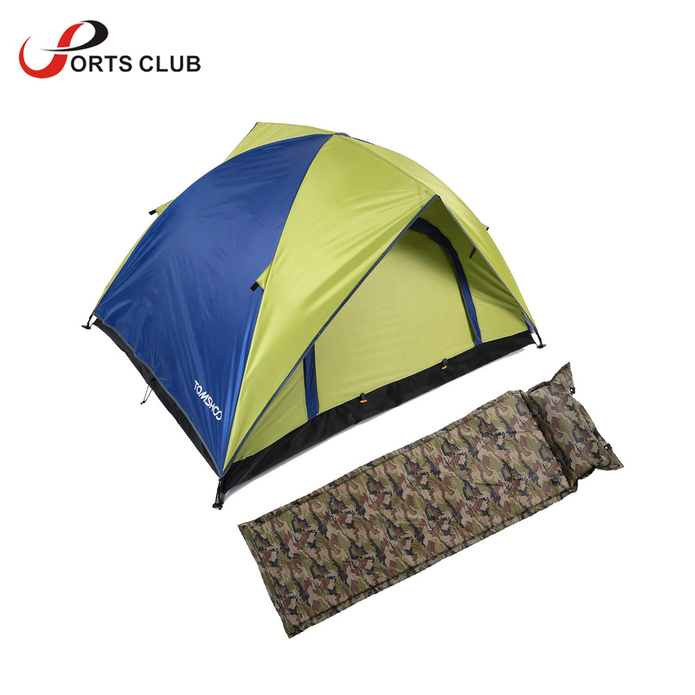 TOMSHOO Outdoor Camping Thick Automatic Inflatable Mattress Self-Inflating Tent Mat + Double Layer Double Door Camping Tent(China (Mainland))