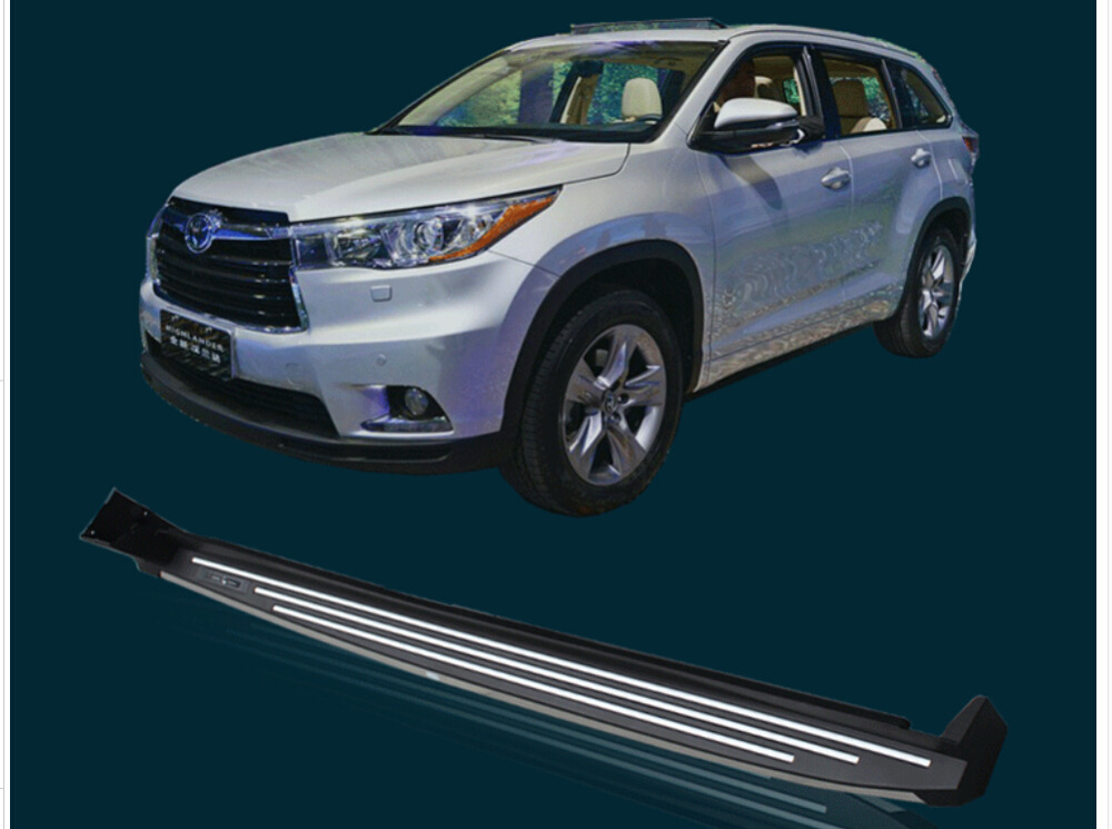 High Quality LED LOGO Gold /Silver Article decoration Car side step bar running board Pedals for Toyota Highlander 2015.shipping(China (Mainland))